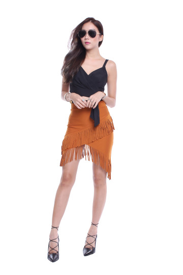 FRINGE PARTY SKIRT (CAMEL) image