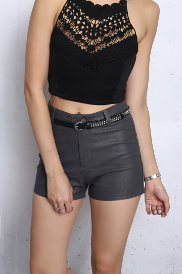 UTILITY CHIC LEATHER SHORTS (CEMENT) image