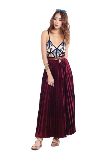 VALENTINO PLEATED MAXI SKIRT (WINE RED VELVET) *PREMIUM* image