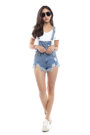 EMMA'S FRAYED SHORT DENIM DUNGAREE (LIGHT DENIM) image