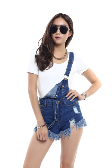 EMMA'S FRAYED SHORT DENIM DUNGAREE (DARK DENIM) image