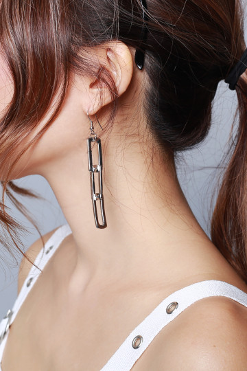 SLEEK CHAIN EARRINGS (SILVER) image