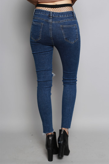 IT-GIRL RIPPED JEANS (DARK DENIM) (PREMIUM) (BACKORDER) image