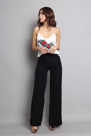 EMBROIDERED ROSE CAMISOLE (WHITE) image