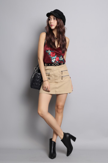 EMBROIDERED ROSE CAMISOLE (WINE RED) image
