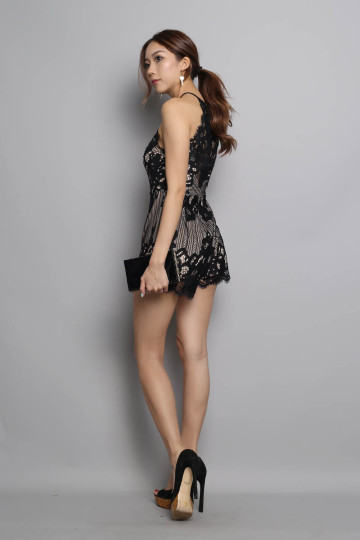LACE FOR DAYS PLAYSUIT (BLACK) (PREMIUM) image
