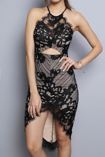 LACE FOR NIGHTS DRESS (BLACK) (PREMIUM) image