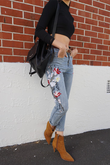 WALKING ON FLOWERS EMBROIDERED JEANS image