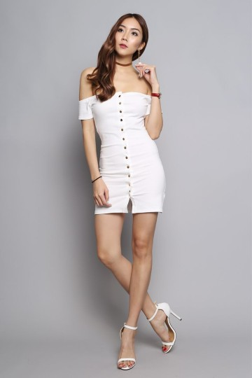 OFF-SHOULDER BUTTON DOWN DRESS (WHITE) image