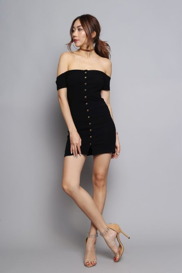 OFF-SHOULDER BUTTON DOWN DRESS (BLACK) image