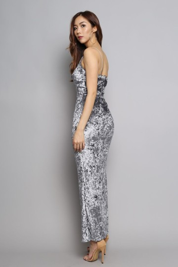 ROMANCE VELVET MAXI DRESS (ASH GREY) image