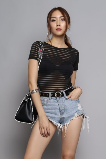 DAILY MAIL U-BACK BODYSUIT (BLACK) (SHORT SLEEVE) (BACKORDER) image