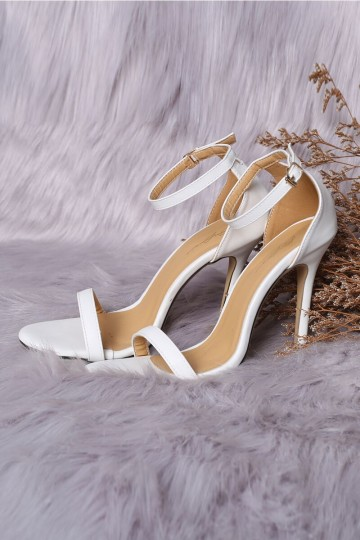 ISABEL BASIC STRAPPY HEELS (WHITE) (PREORDER) image