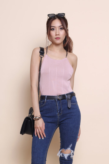 T-CHAIN TOP (BLUSH PINK) image