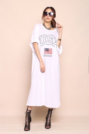 USA SHIRT DRESS (WHITE) image
