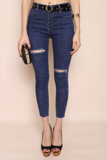 SLIT ME AT THE BACK JEANS (DARK DENIM) image