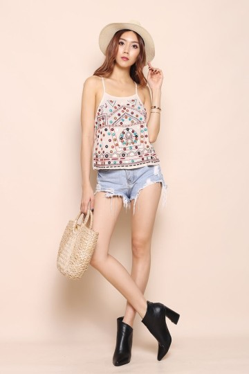 ELLY FESTIVAL BEADED TOP (CREAM) image