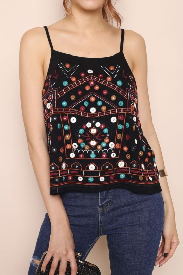 ELLY FESTIVAL BEADED TOP (BLACK) image
