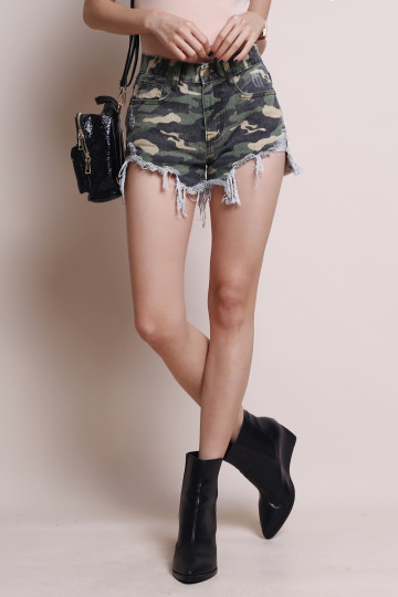 CAMO RIPPED SHORTS image