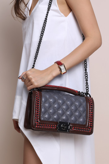 HER BOY BAG (GREY) (PREMIUM) image