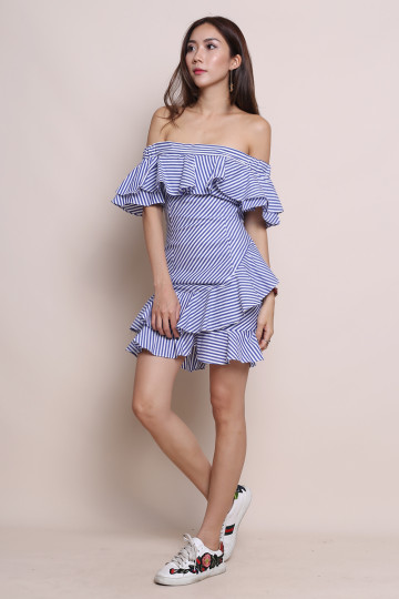 LEXI STRIPED OFF-SHOULDER DRESS image