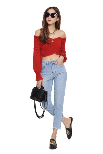 INKA OFF-SHOULDER BOHO TOP (RED) (BACKORDER) image