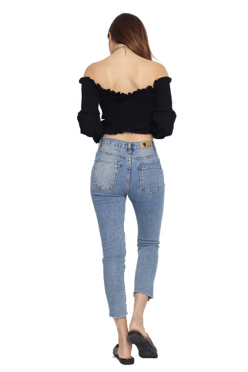INKA OFF-SHOULDER BOHO TOP (BLACK) (BACKORDER) image