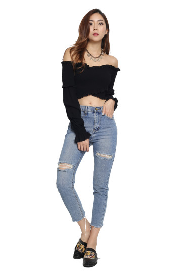 DOUBLE TROUBLE RIPPED JEANS image