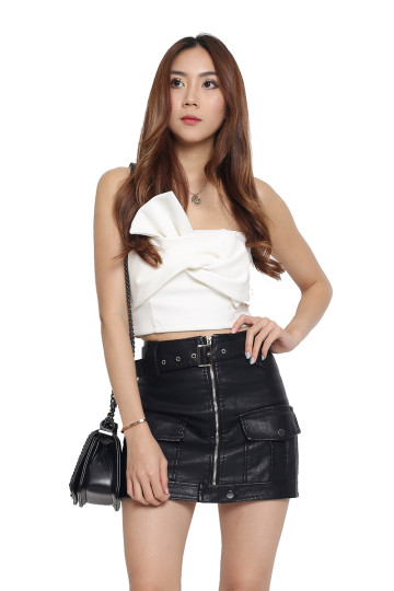 WKND BOW BRALET TOP (WHITE) (BACKORDER) image