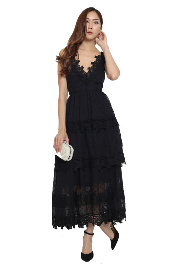 RUE DE PARIS LACE DRESS (BLACK) image