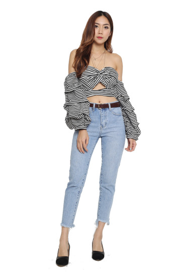 MELODY STRIPED OFF-SHOULDER TOP (PREMIUM) image