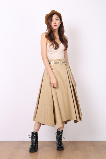 IN SLIT LOVE MIDI SKIRT (SAND) (PREMIUM) image