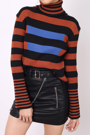 GI STRIPED KNIT TOP (BROWN) image