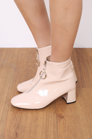 EDGY ZIP UP PATENT BOOTS (PEONY) image