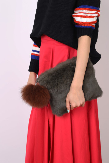 VANITY FUR CLUTCH (MOSS GREEN) image