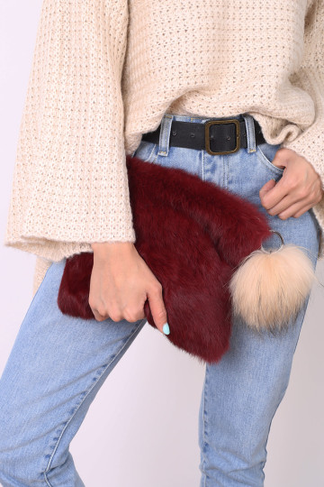 VANITY FUR CLUTCH (GARNET RED) image