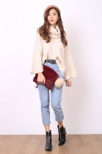 CASUAL KNIT TURTLENECK (CREME) (PREMIUM) image