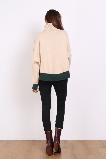 COLORBLOCK KNIT TOP (SANDPAPER/GREEN) image