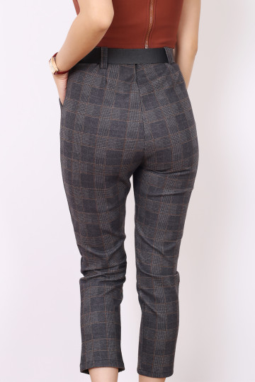 TREVOR CHECKED PANTS (BROWN LINES) image