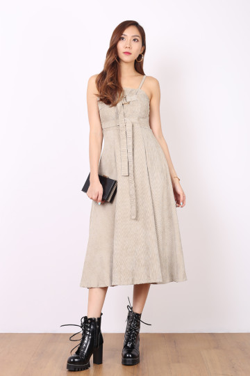 BlAIR CORDUROY BELT DRESS (DARK CREME) image