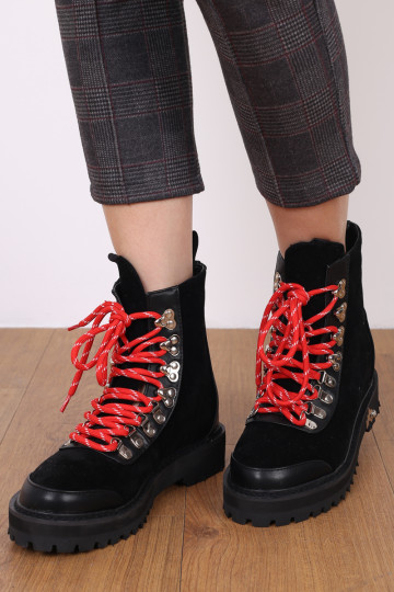 CALISTA COMBAT CHUNKY BOOTS (BLACK) image