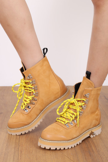 CALISTA COMBAT CHUNKY BOOTS (CAMEL) image