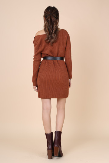 KEEP WARM KNITTED CARDIGAN (DARK CARAMEL) (PREMIUM) image