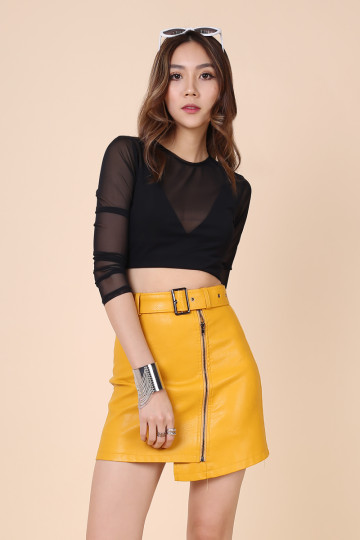 ÉLÉMENTAIRE LEATHER SKIRT (YELLOW POP) image