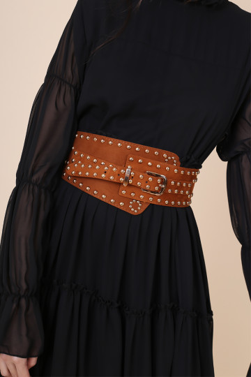 DAENERYS STUDDED BELT (BROWN) image