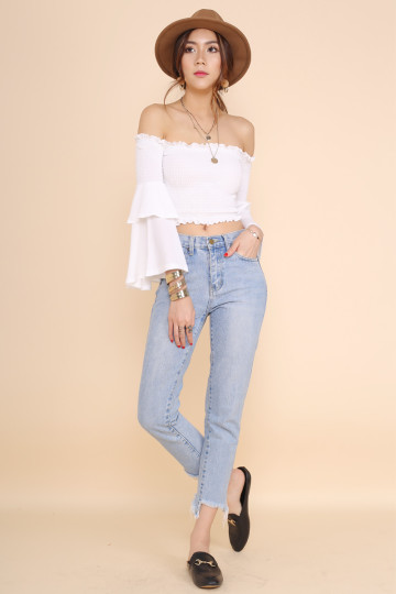 BELLE OFF-SHOULDER CROP TOP (WHITE) image