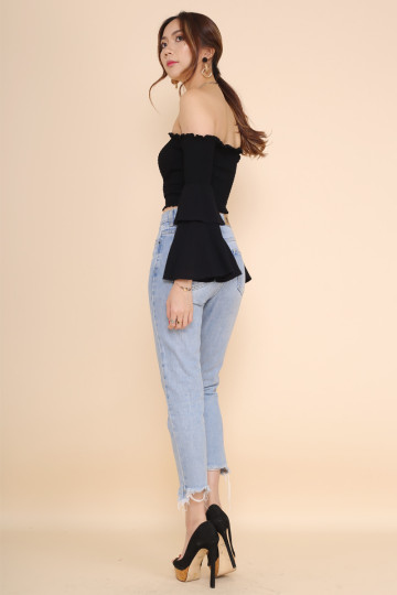 BELLE OFF-SHOULDER CROP TOP (BLACK)(BACKORDER) image