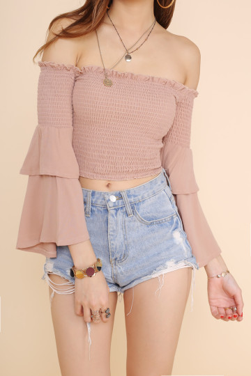 BELLE OFF-SHOULDER CROP TOP (LATTE)(BACKORDER) image