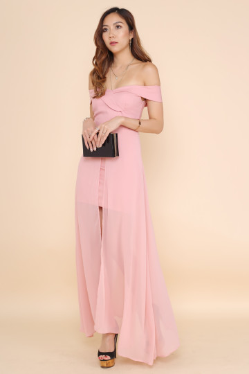 CARRIE OFF-SHOULDER DRESS (BLUSH PINK) image