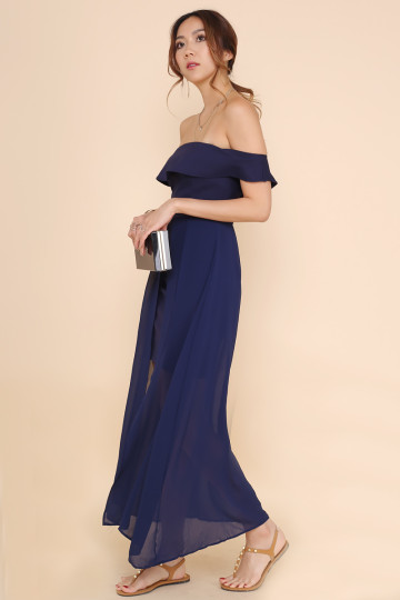 SLEVENE OFF-SHOULDER DRESS (NAVY BLUE) image